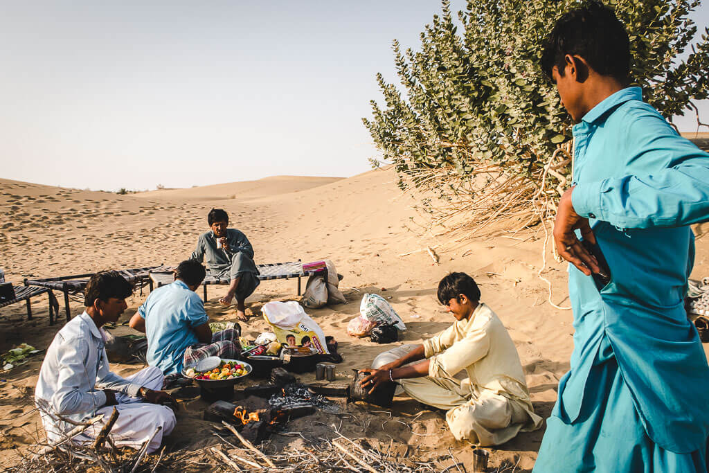 Cooking dinner Thar desert